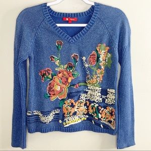 Fishing blue sparkly v neck embroidered sweater